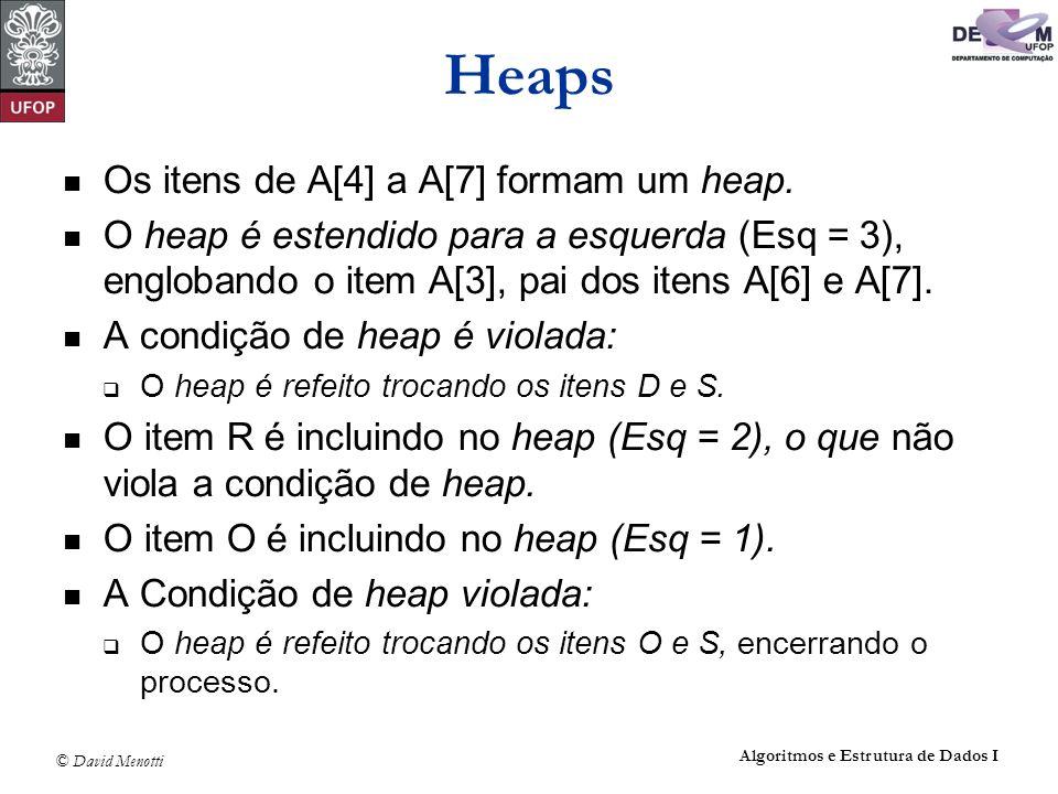 Heaps Os itens de A[4] a A[7] formam um heap.